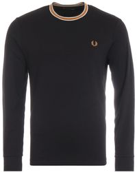 Fred Perry Tramline Tipped Long Sleeve T-shirt - Black