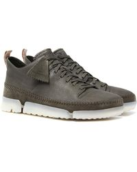 Clarks - Trigenic Dry Gtx Olive Leather Trainers - Lyst