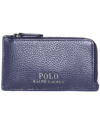 Polo Ralph Lauren - Navy Cow Leather Zip Card Case - Lyst