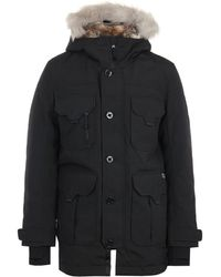 Lacoste Live Faux Fur Hooded Parka Jacket - Black