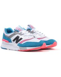 New Balance 997h Suede Sneakers - Deep Ozone Blue & Guava - White