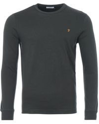Farah Worthington Organic Cotton Slim Fit Long Sleeve T-shirt - Green