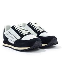 Armani Exchange Contrasting Suede Leather Sneakers - White