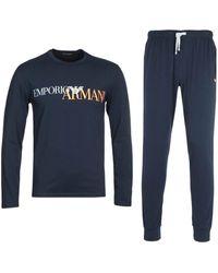 Emporio Armani Loungewear Large Logo Navy Pyjamas - Blue