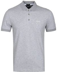 BOSS Green - Paule Grey Marl Polo Shirt - Lyst