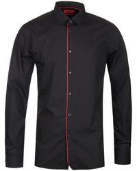 HUGO Extra Slim Fit Esmo Black Cotton Shirt