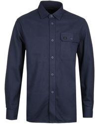 Fred Perry Dark Airforce Twill Utility Shirt - Blue