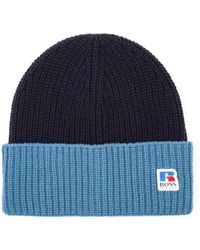 BOSS x Russell Athletic Wool Ribbed Beanie - Blue