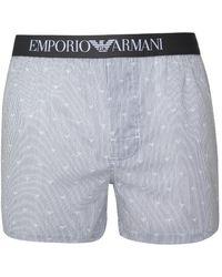Emporio Armani - Grey Stripe Eagle Cotton Boxers - Lyst