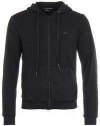 True Religion - Zip Up Metal Logo Hooded Sweatshirt - Black - Lyst