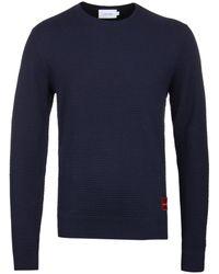 Calvin Klein - Navy Structured Cotton Wool Jumper - Lyst