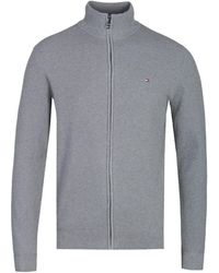 Tommy Hilfiger Gray Zip-through Structured Knit Sweater