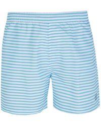 Henri Lloyd - Abridge Striped Cyan & White Swim Short - Lyst