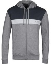BOSS by Hugo Boss - Grey & Blue Colourblock Homeleisure Hoodie - Lyst
