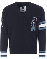 BOSS x Russell Athletic Exclusive Logo Wool Varsity Sweater - Blue