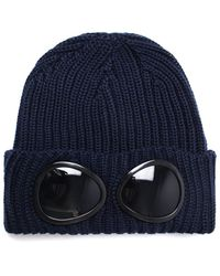 C P Company Navy Knitted Goggle Beanie Hat - Blue
