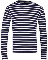 Armor Lux Mariniere Navy & White Stripe Long Sleeve T-shirt - Blue