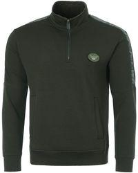 Emporio Armani Velour Tape Half Zip Sweatshirt - Green