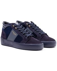 Android Homme Propulsion Mid Stingray Navy Velvet Leather Trainers - Blue