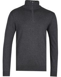 Belstaff Bay Knit Half Zip Charcoal Melange Jumper - Gray