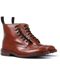 Tricker's Tricker's Stow Marron Antique Brogue Derby Country Boots - Brown