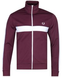 Fred Perry Contrast Panel Burgundy Track Jacket - Purple