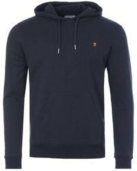 Farah Zain Organic Cotton Slim Fit Hooded Sweatshirt - Blue