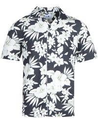 NN07 5030 Paris Floral Black Short Sleeve Shirt - Blue
