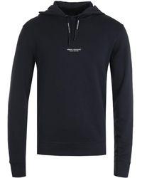 Armani Exchange Pullover Navy Hooded Sweatshirt - Blue