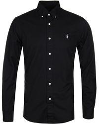 Polo Ralph Lauren - Slim Fit Garment Dyed Black Twill Shirt - Lyst