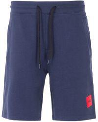 HUGO - Logo Patch Sustainable Sweat Shorts - Navy - Lyst