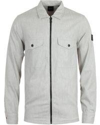 BOSS by Hugo Boss - Lom Zip Light Grey Overshirt - Lyst