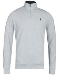 Polo Ralph Lauren Cotton Pique Half Zip Grey Sweater
