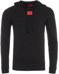 HUGO - Logo Patch Sustainable Hooded Sweatshirt - Black - Lyst