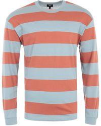 Edwin Quarter Rib Long Sleeve Stipe T-shirt - Auburn & Arona - Multicolour
