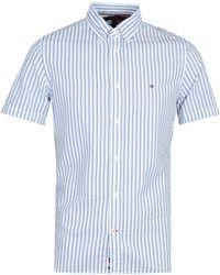 Tommy Hilfiger Slim Seersucker Stripe White Shirt - Blue