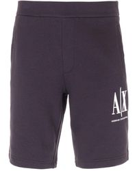 Armani Exchange Icon Sweat Shorts - Black - Blue