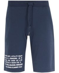 True Religion Military Print Navy Sweat Shorts - Blue