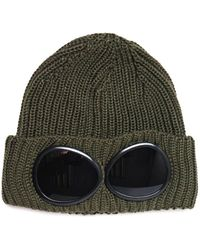 C P Company Large Goggle Olive Knit Beanie - Green