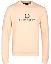 Fred Perry Apricot Ice Embroidered Sweatshirt - Natural