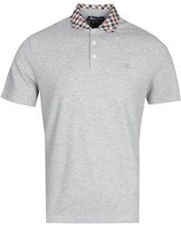 Aquascutum Coniston Club Check Collar Gray Melange Polo Shirt