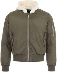True Religion Sherpa Hood Bomber Jacket - Green