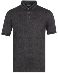 Emporio Armani Black Embroidered Polo Shirt