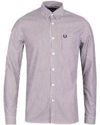 Fred Perry Stripe Twill Mahogany Shirt - Multicolour