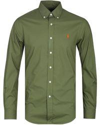 Polo Ralph Lauren Slim Fit Military Green Long Sleeve Poplin Shirt