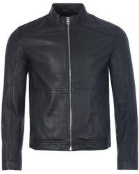 HUGO Extra Slim Fit Leather Biker Jacket - Black