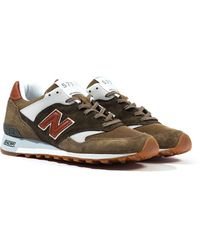 New Balance Made In England M577 Green & Brown Suede Sneakers