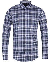 BOSS - Ronni_53 Slim Fit Navy Check Shirt - Lyst