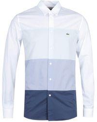 Lacoste Regular Fit Bue Tones Block Front White Long Sleeve Shirt