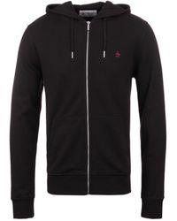 Original Penguin   True Black Zip Through Hooded Pique Sweatshirt   Lyst